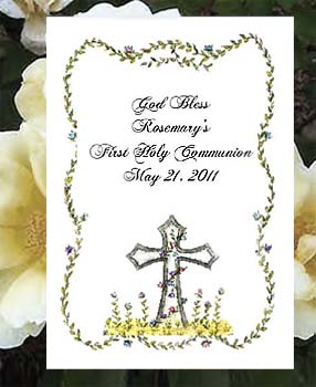 Holy Cross with Flowers Christian Confirmation, Communion, Christening, Baptism,  Seed  Favors  & Tea Packets