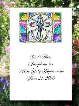Stained Glass Cross Christian Religious Communion, Confirmation, Baptism, Christening Seed  Favors & Tea Packets