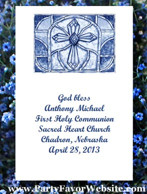 Blue Holy Cross Christian Baptism, Christening, Communion, Confirmation Seed  Favors & Tea Favor Packets