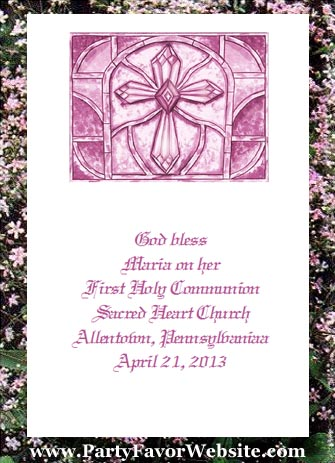 Pink  Holy Cross Baptism, Christening, Communion, Confirmation Christian Seed  Favors & Tea Favor Packets
