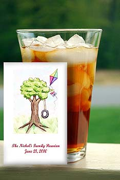 Tree with Flying  Kite Barbecue, Family Reunions Seed Favors  & Tea Packets