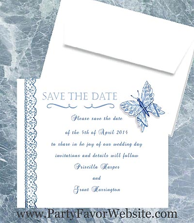Blue Butterfly Save The Date Cards- - - AS LOW AS $1.60
