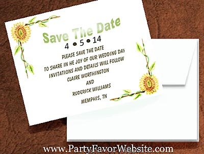 Sunflower Save The Date Cards- - - AS LOW AS $1.60