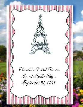 Romantic Paris Eiffel Tower  ParisTheme Destination Wedding Seed Favors  & Tea Packets