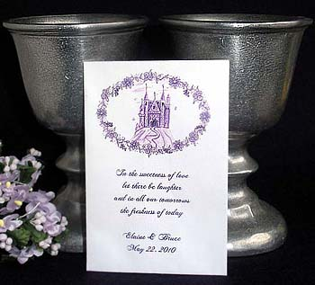 Fairytale Castle (Purple) Wedding Rennaisance theme Seed Favors  & Tea Packets