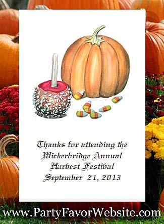 Caramel Apple, Pumpkin & Candy Corn Autumn Fall theme Seed Favors & Tea Packets