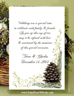 Pine Cone Winter  Wedding & Nature Theme Wedding & All Occasion Seed Favors  & Tea Packets