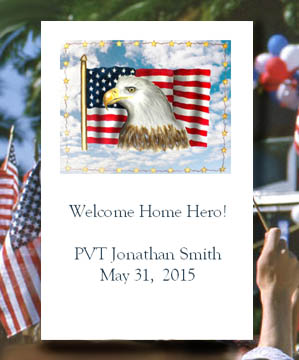 Patriotic Bald Eagle with  American Flag Seed Favors  & Tea Packets