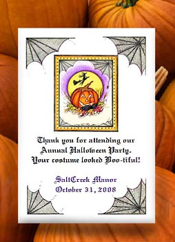Pumpkin with Flying Witch Seed Favors