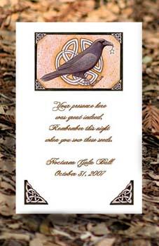 Celtic Black Raven Halloween theme Seed Favors & Tea Packets