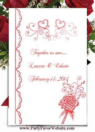 Red Roses & Hearts Wedding and  Valentines Seed Favors & Tea Favor Packets
