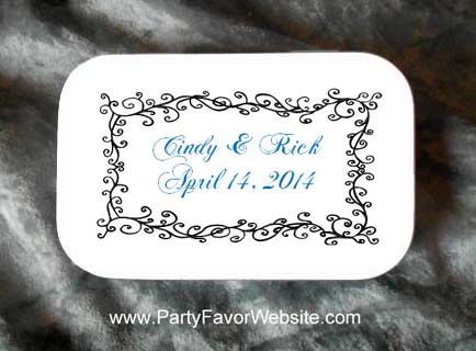 Aspen black and white  Mint Tin Wedding Favors