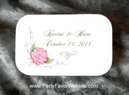 Pink Peony Wedding Mint Tin Favors