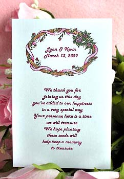 Ribbons and Roses  Wedding, Anniversary Seed Favors & Tea Packets