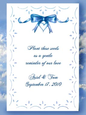 Blue Bow Wedding and Baby Shower Seed Favors and Tea Packets
