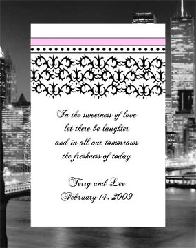Black and White Damask Wedding, Anniversary,  Bridal Shower, Seed Favors & Tea Packets