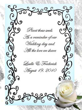 Elegant Affair Flourish Wedding  Seed Favors & Tea Packets