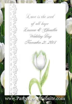 White Tulip and Lace Wedding Seed Favors & Tea Favor Packets