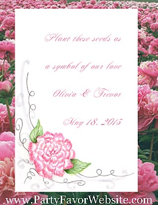 Pink Peony design Wedding Seed Favors & Tea Favor Packets