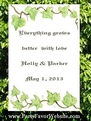 Green Ivy Wedding & All Occasion Seed Favor Packets
