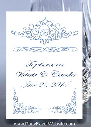 Royal Blue Scroll  Seed Favors & Tea Favor Packets
