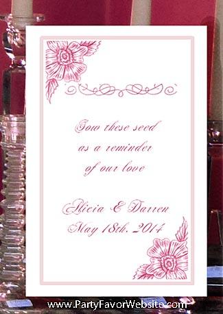 Pink Flower Escapade  Wedding Seed Favors & Tea Favor Packets