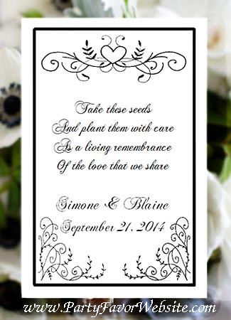 Black  White Scroll Heart  with Flourishes  Seed  & Tea Favor Packets