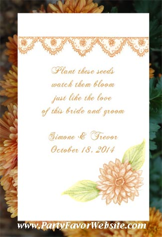 Orange Chrysanthemum Design Wedding Seed Favors & Tea Favor Packets