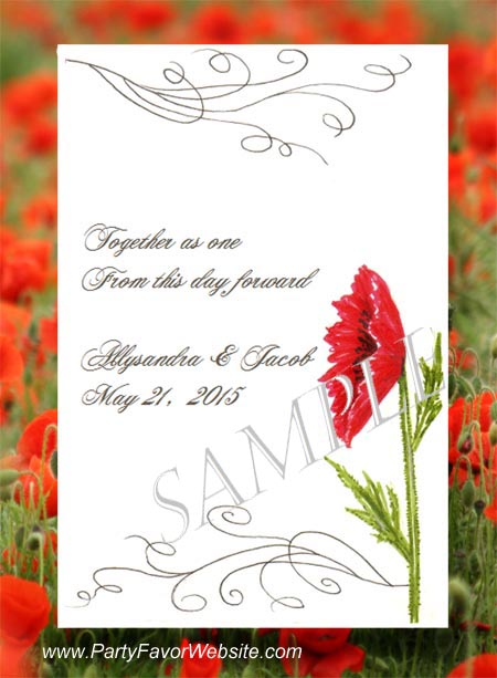 Red Poppy Flower Wedding Seed Favor Packets