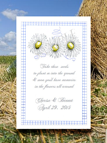 Country White Daisies with Blue Gingham Flower Seed Favor Packets