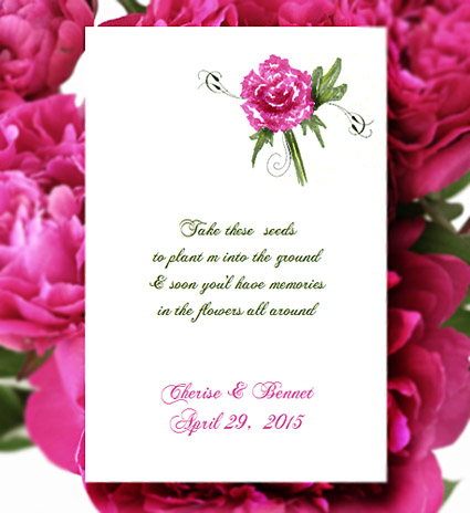Hot Pink Peony Flower design wedding, shower Seed Favor Packets