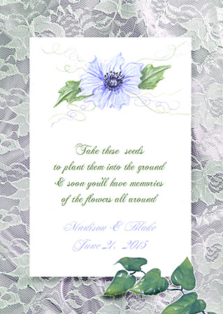 Lavender Anemone Flower Seed Favor Packets