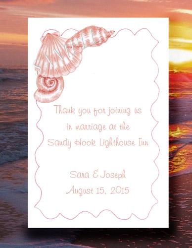 Seashell Coral Beach Theme Destination Seed Favors & Tea Packets