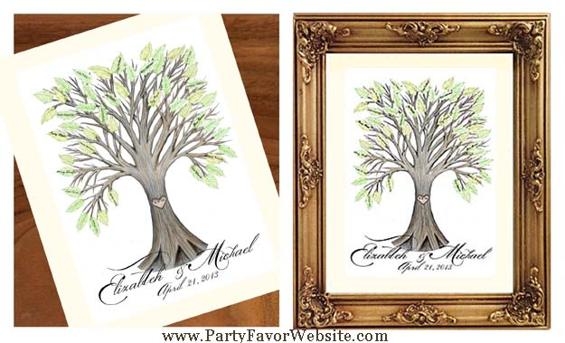 Wedding Signature Guest Book Tree with Green Leaves