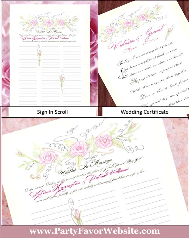Pink Roses Calligraphy Lettering and Watercolor Wedding  Guest Sign in Scroll or Marriage Certificate