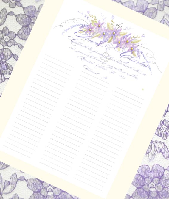 Lavender and Purple Flowers with Calligraphy Lettering and Watercolor Wedding  Guest Sign in Scroll or Marriage Certificate